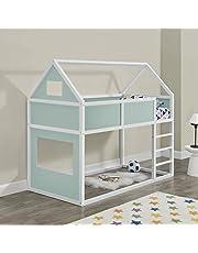 Litera para niños con Escalera 200 x 90 cm Cama para niños de Madera Pino Cama Infantil Forma de casa