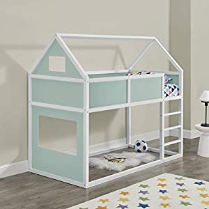 Litera para niños con Escalera 200 x 90 cm Cama para niños de Madera Pino Cama Infantil Forma de casa Blanco y Verde Menta