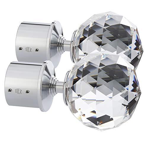 TEZ® Kristall Glas Gardinenstange Endstücken, klar Facettenschliff Ball Kristall Kopf - 60 mm Kristall dia - Verkauft als Paar - Finish: Chrom glänzend - geeignet für Stangen bis zu 30 mm Durchmesser.
