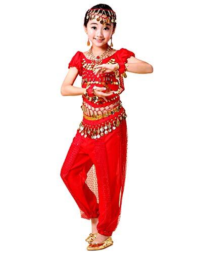 Grouptap Bollywood Indio niños niñas bharatanatyam Estilo Danza del Vientre 2 Piezas Rojo kuchipudi niños Disfraces Disfraz (Rojo, 110-130 cm)