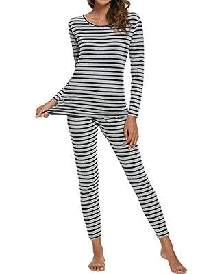 CzDolay Womens Cotton Thermal Underwear Long Johns Base Layer Thermal Set(BL-Gray, XXL)