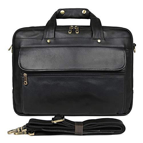 Yi-xir Ladies' favorite bag Unfeigned Leather Men's Briefcase Expectant Capacity Three-layer Business Bag Black Male Shoulder Laptop Bag Diagonal bag backpack