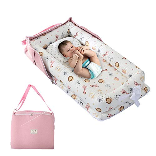 Baby Nest Bed, Animals World Baby Lounger with Bag for Infant Boys Sharing Co Sleeping Baby Bassinet,Premium Quality and Bigger Size (0-24 Months) -Breathable & Hypoallergenic Portable Crib