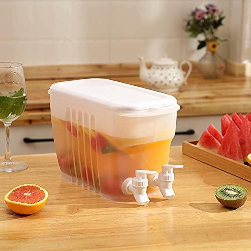 Dispensador de bebidas de 3,5 L con doble grifo, hervidor de agua fría para nevera, tetera de frutas con grifo, cubo de agua para hielo, recipiente de agua, sin BPA, sin fugas para hacer tés y jugos
