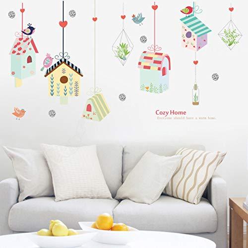 Kleurrijke vogelhuisje, polygon muurstickers voor woonkamer, kinderkamer, slaapkamer, kleuterschool, vinyl, muurtattoos, muurschilderingen, doe-het-zelf stickers