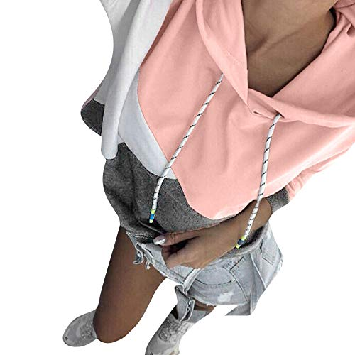 Womens Hoodies Toamen Clothes Sale Clearance Autumn Winter Patchwork Long Sleeve Hooded Sweatshirt Pullover Tops Blouse (12, Pink)