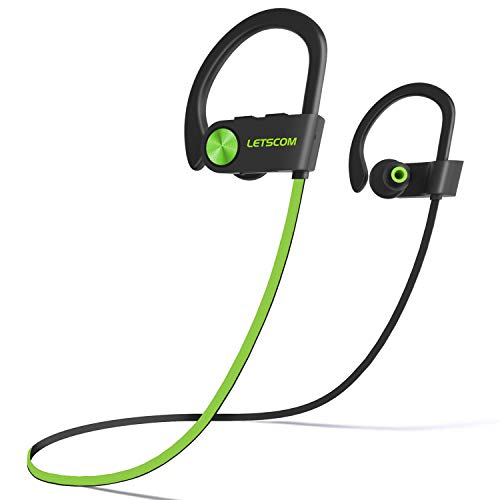 LETSCOM Bluetooth Headphones IPX7 Waterproof, Wireless Sport Earphones, HiFi Bass Stereo Sweatproof Earbuds w/Mic, Noise Cancelling Headset for Workout, Running,...