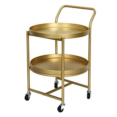 H-CAR Mesa auxiliar mesa de centro mesa auxiliar mesa redonda dorada, mesa de centro de doble capa con ruedas movible, marco de metal, sofá, mesita de noche, sofá, mesita de noche, mesas auxiliares