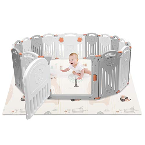 kidsclub Baby Playpen Play Area Foldable Portable Play Yard, HDPE, BPA Free, Play Gates for Baby, Home Indoor Outdoor Activity Center Play Pen (16 Panel)