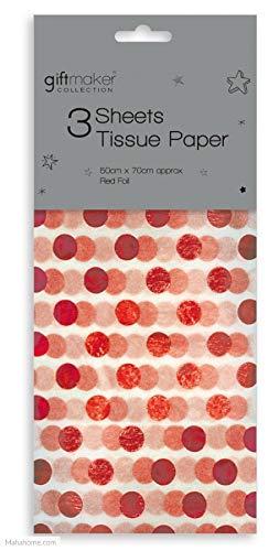 The Design Group - Carta velina da 3 Fogli, 50 x 70 cm, Colore: Rosso