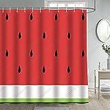 Gdmoon Wassermelone Duschvorhang Sommer Obst Scheiben Schwarz Samen Rot Grün Hawaii Urlaub Cool Kinder Cartoon Bunte Kunst Badezimmer Vorhang-Set mit 12 Haken 183 x cm YLWHGD1650