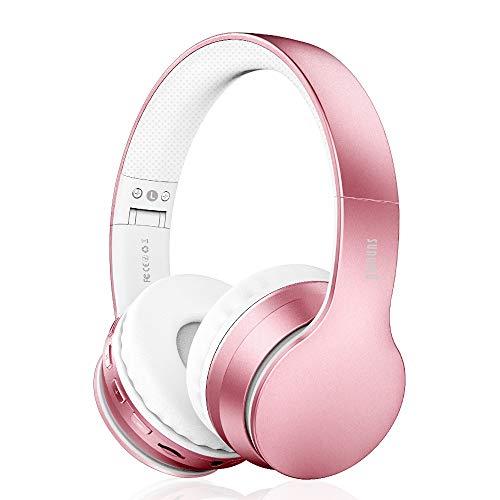 Cuffie Bluetooth Senza Fili 4 in 1, Sunvito Pieghevole Auricolari con Mic, Lettore MP3, Radio FM, Auricolare Collegato, Regalo Cuffie Over Ear Stereo per Phone Portatili PC (oro rosa)
