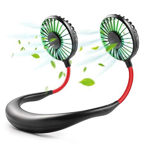 GOAMZ Mini Ventilador Micro USB de Cuello Portatil Mano Libre Recargable Ventilador Electrico para Coche Deporte Oficina Hogar Viajar Acampar (Negro)