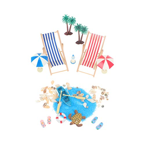 Garneck Beach Style Miniature Dollhouse Decoration Kits for Diy Fairy Garden Doll House Chair Shell Palm Tree Tortoise Boat Ornament Party Gift