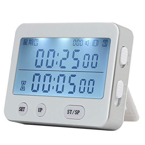 ACAMPTAR YS-255 Pantalla Doble Temporizador de Pantalla Reloj Despertador Temporizador de Tomate VibracióN Silenciosa Temporizador de 99 Horas CronóMetro Digital de Minutos