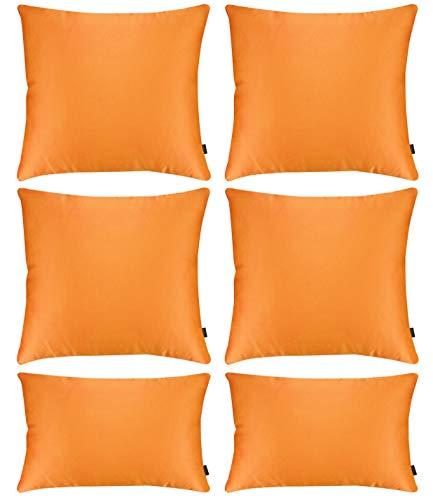 Hodeacc Paquete de 6 fundas de almohada de satén sedoso suave funda de almohada, fundas de cojín decorativas sólidas, decoración del hogar para sofá silla, sofá de 50 x 50 cm + funda de 30 x 50 cm