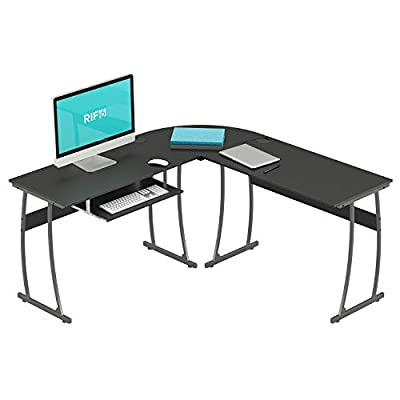 RIF6 L-Shaped Computer Desk - Modern Home Office Corner Desk with Keyboard Shelf Tray - Black Wide Surface Study Workstation Table for PC Laptop Gaming and Writing - with Sturdy Adjustable Steel Legs