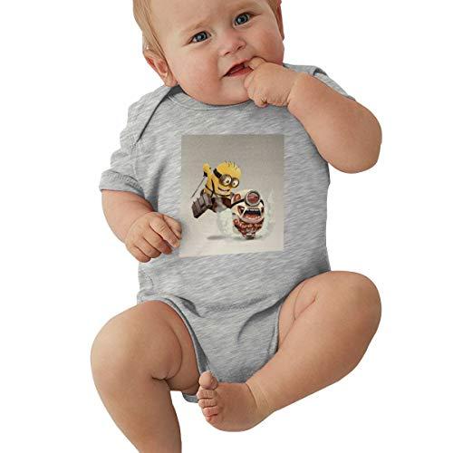GHYGTY Mini-Ons Baby-Strampler für Neugeborene, superweiche Baumwolle, kurzärmelig, Jersey, Schwarz Gr. 12 Monate, grau