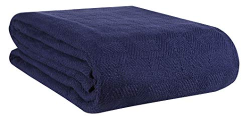 GLAMBURG 100% Cotton Bed Blanket, Breathable Bed Blanket Queen Size, Cotton Thermal Blankets Full - Queen Size, Perfect for Layering Any Bed for All Season - Navy Blue