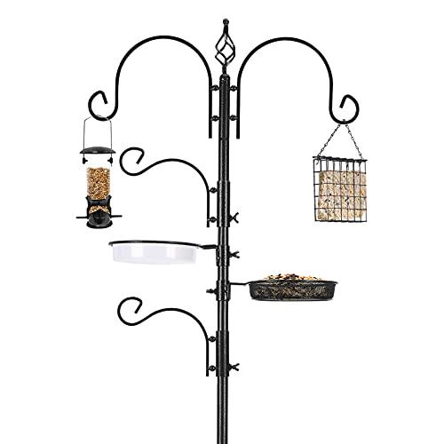Deluxe-Vogelfutterstation-Kit Vogelfütterungsstange Vogelhäuschen-Hänge-Kit Multi-Feeder-Hänge mit Metalltalg-Feeder Vogelbadewanne Mesh-Tablett zum Anlocken von Wildvögeln (1 Pack)
