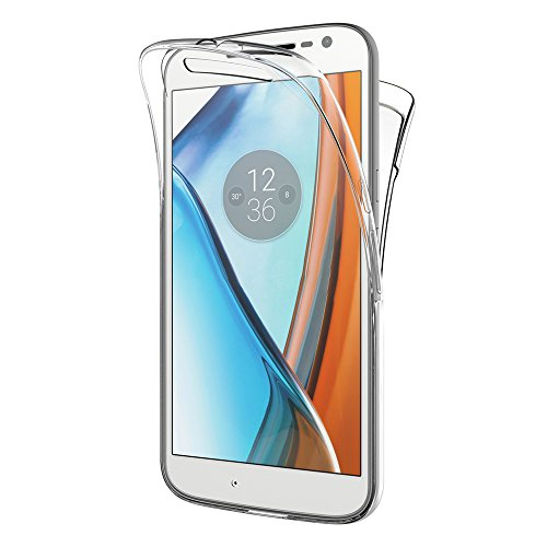 AICEK Moto G4 / Moto G4 Plus Hülle, 360° Full Body Transparent Silikon Schutzhülle für Motorola Moto G4 Case Crystal Clear Durchsichtige TPU Bumper Lenovo Moto G4 Handyhülle (5,5 Zoll)