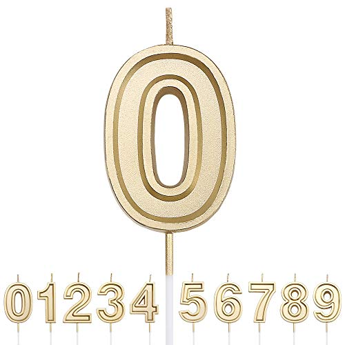 URAQT Geburtstag Zahl Kerzen 0, Gold Glitzer Geburtstagskerzen, Dekorative Geburtstagstorte, Hochzeitsparty, Abschlussfeier Usw.