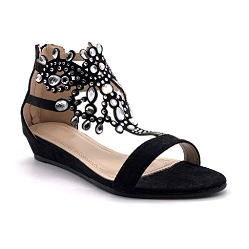Angkorly - Chaussure Mode Sandale Plat Ouvert Oriental Femme Diamant Bijoux Strass Diamant Talon compensé 3 CM - Noir - P216 T 37