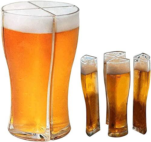ZHIRCEKE Vier an einem Bierglas Funktionelle Bier Gläser weizenglas 4er Set Weißbierglas Geburtstagsgeschenk für Männer Geschenk Idee Cocktail Becher Party Kelche,Vatertag