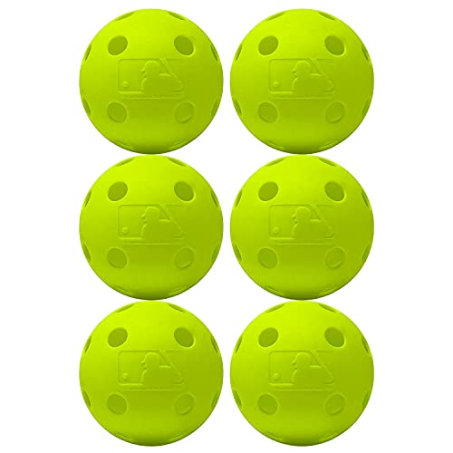 Franklin Sports Plastic Baseballs - Indestruct-A-Ball Plastic Batting Practice Baseballs - Plastic Training Balls - MLB Official Size - Yellow - 6 Pack