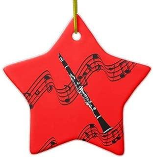 Dozili Christmas Tree Decoration Holiday Tree Clarinet on Starshaped Red 3 inch Ceramic Ornaments Merry Gifts