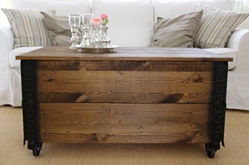 Uncle Joe´s Couchtisch XL dunkel Truhentisch Truhe im Vintage Shabby chic Style aus Massiv-Holz in braun mit Stauraum und Deckel Holzkiste Beistelltisch Landhaus Wohnzimmertisch Holztisch nussbaum