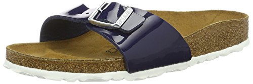 BIRKENSTOCK Unisex Madrid Birko-flor Pantoletten Narrow Fit , Blau (Dress Blue  Lack) , 41 (Schmal)