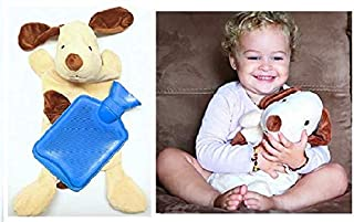 Hot Water Bottle Blue with Pup Cover Classic Rubber Hot Water Bag with Dog Cover to Sooth Aches, Pains and Keep Warm on Chilly Nights