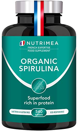Organic Spirulina 540 x 500mg Capsules - Rich in Protein, Antioxidants, Iron, Low Calories - 19% of Phycocyanin - Strengthens Hair and Nails - French Expertise