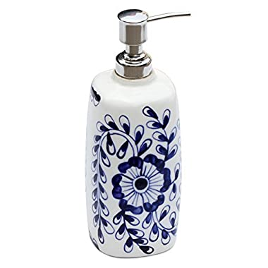 SouvNear Soap Dispenser - Blue and White Ceramic Liquid Pump Lotion Dispenser Holder with Easy Aluminum Pump Hand Painted Floral Motifs for Kitchen Sink & Bathroom Accessories SouvNear