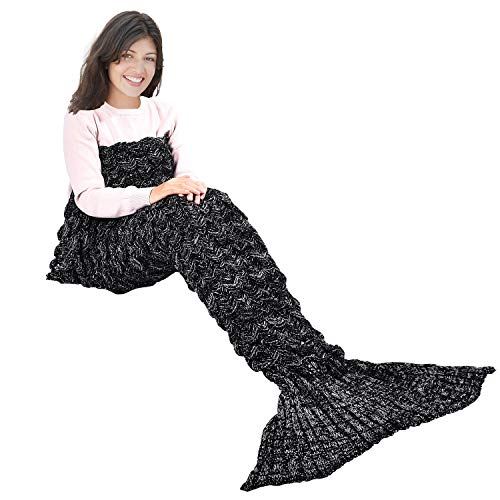 "yashidali Wearable Mermaid Tail Blanket Crochet, All Seasons Warm Knitted Bed Blankets Sofa Living Room Quilt for Kids and Adults, Fish-Scales Pattern, 70.9"" x 35.5"" (180 x 90cm), Black"