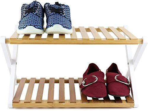 A-Generic Almacenamiento de Zapatos de bambú Plegable de 2 Niveles-2 Niveles
