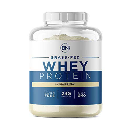Grass Fed Whey Protein Vanilla 5lb - 100% Pure and Natural - 5 lb/64 Servings - 24g Protein - Cold Processed Undenatured - Non-GMO - rBGH-Free - High Quality from Happy Healthy Cows USA
