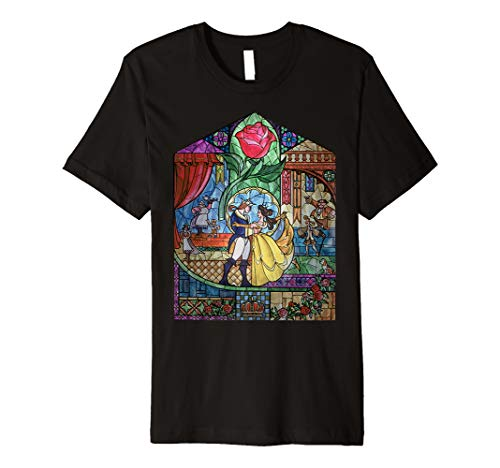 Disney Beauty & The Beast Stained Glass Rose Graphic T-Shirt