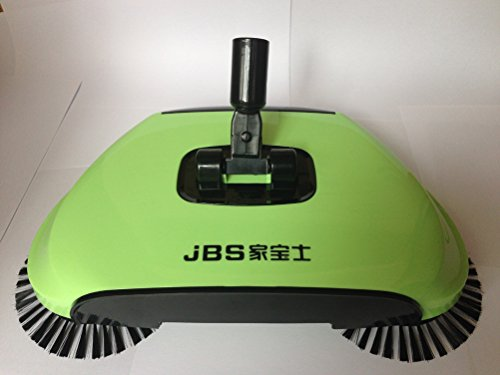 YJBear 360 Rotary Manual Floor Dust Sweeper Household Cleaning Hand Push Sweeper Broom Without Electricity 3 in 1 Portable Sweeping Machine Apple Green