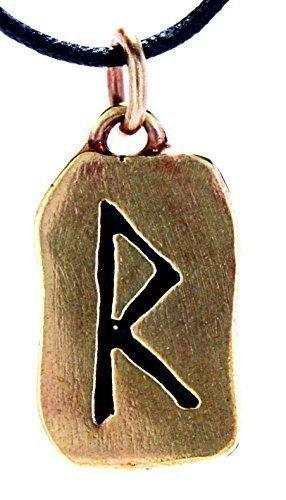 Kiss of Leather Runen Anhänger Raido aus Bronze mit Baumwollband