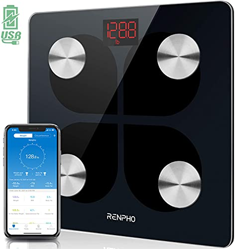 RENPHO Báscula de Grasa Corporal con Bluetooth - Báscula Elegante para Baño BMI Digital Escala, Analizador Recargable de Composición Corporal con USB y Aplicación