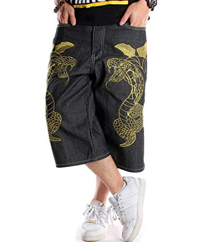 QBO Men's Casual Hip-hop Embroidery Loose Fit Jeans Denim Shorts-36