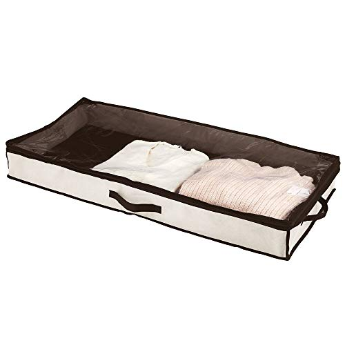 mDesign Unterbettkommode – Bettkasten mit durchsichtigem Deckel für Kleidung, Bettwäsche oder Schuhe – Wäschesortierer für staubfreie Aufbewahrung unter dem Bett – cremefarben und dunkelbraun