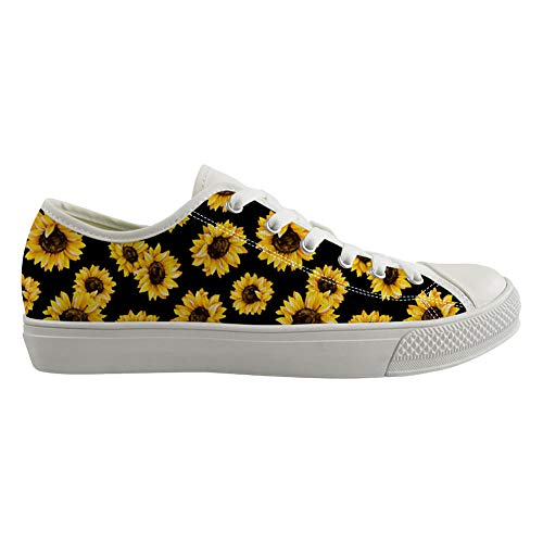 POLERO Women's Low Top Shoes Sunflower Floral Canvas Shoes Flat Lace Up Lightweight Casual Walking Shoes for Work School Travel, Black, EU 35