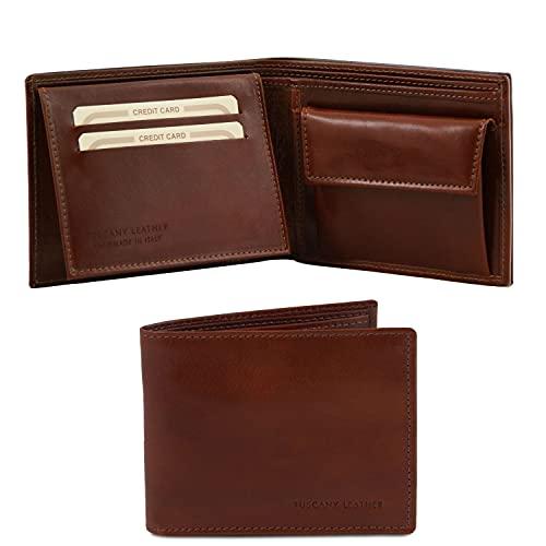 Tuscany Leather Esclusivo portafoglio uomo in pelle 3 ante con portaspiccioli Marrone
