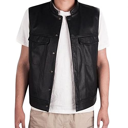 HGOOGY Men's Solid Faux Leather Vest, Button Down Sleeveless Jacket with Multi -Pockets, Fashion Slim Fit Outwear Black