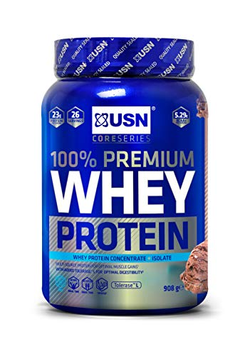 USN 100% Whey Chocolate 908 g: Premium Whey Protein Whey Isolate Protein Powder Blend for Muscle Building & Maintenance