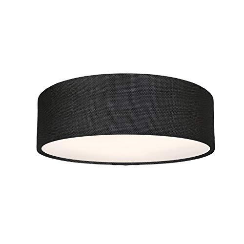 Plafonnier rond en tissu - 39 cm - Structure noire - 3 douilles E27 - Lampe de chambre à coucher LED - Intensité variable via interrupteur mural - IP20 - Fabriqué en UE