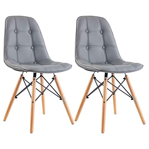 IDIMEX Esszimmerstuhl Cesar im Retro Design, Küchenstuhl Essstuhl Polsterstuhl im 2er Set aus Lederimitat in grau